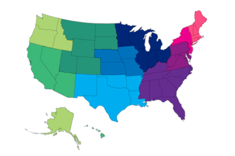 Map of USA showing states divided into 10 Social Security Administration regions